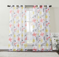 "Extra Long Two (2) Piece Sheer Grommet Window Curtain Panels: Red Orange, Gray and Yellow, Floral Design, 108"" x 108"""