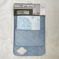 Turquoise Bathroom Set: 2 Memory Foam Floor Mats, Fabric Shower Curtain, Silver Roller Ball Shower Hooks