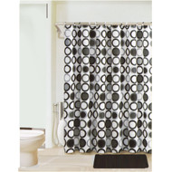 Black, Gray and White Bathroom Set: 2 Memory Foam Floor Mats, Fabric Shower Curtain, Silver Roller Ball Shower Hooks