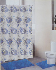 4 Piece Bath Set: 2 Chenille Floor Mats, Fabric Shower Curtain, Roller Ball Shower Hooks