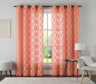 "One (1) Coral Jacquard Grommet Window Curtain Panel: 54"" x 84"""