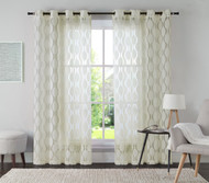 "One (1) Ivory Jacquard Grommet Window Curtain Panel: 54"" x 84"""