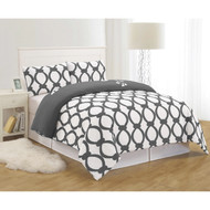 Gray and White 3 Piece Reversible Duvet Set: Full/Queen Size, Floral and Chain Link Design