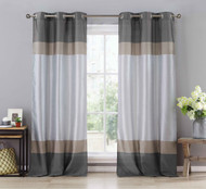 "Two (2) Silver Gray and Taupe Window Curtain Panels: Faux Silk, Silver Grommets, 78"" x 96"""