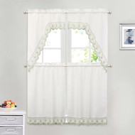 White 4 Piece Kitchen Window Curtain Set: Sage Green Embroidered Border, 2 Swag and 2 Tier Panels