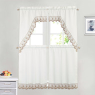 White 4 Piece Kitchen Window Curtain Set: Mocha Embroidered Border, 2 Swag and 2 Tier Panels
