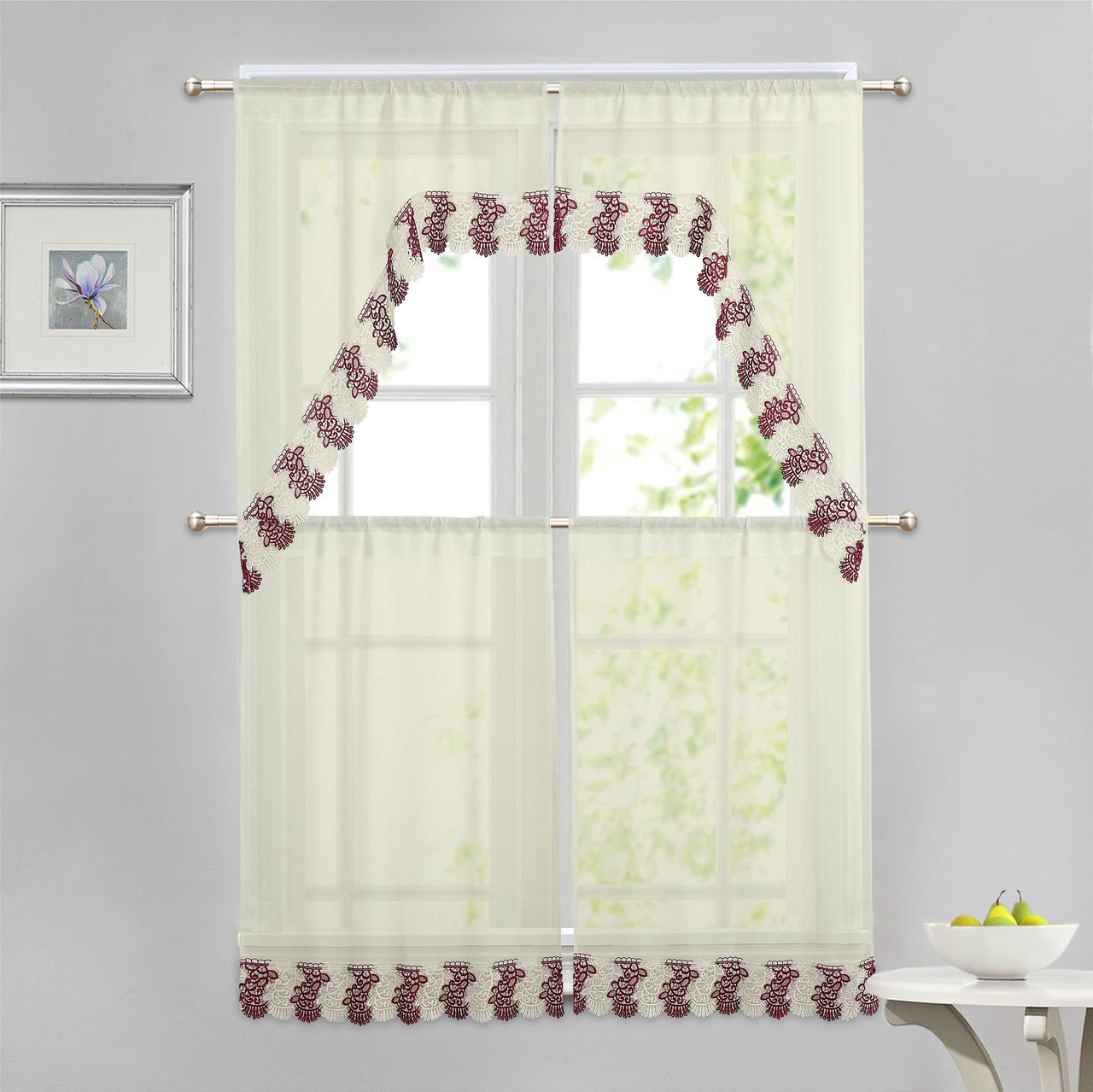 Beige 4 Piece Kitchen Window Curtain Set Burgundy And Ivory Macrame Border 2 Swag And 2 Tier Panels