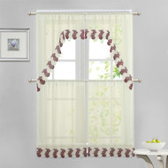 Beige 4 Piece Kitchen Window Curtain Set: Burgundy and Ivory Macrame Border, 2 Swag and 2 Tier Panels