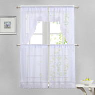 White 4 Piece Kitchen Window Curtain Set: White Macrame Border, 2 Swag and 2 Tier Panels