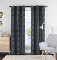 "Single (1) Black and Gray Window Curtain Panels: 55"" x 84"", Grommets, Geometric Design"