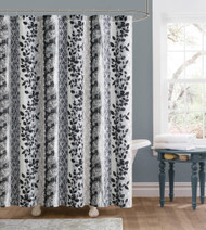 Gray and Black Embossed Fabric Shower Curtain: Floral and Trellis Design