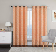"Crushed Jacquard Window Curtain Panel: Orange, Off White, Arabesque Design, 54"" x 84"""