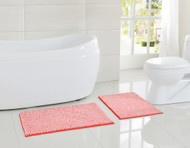 "Two (2) Piece Soft Chenille Noodle Floor Bath Mat/Rug Set: Coral and White, Non-Skid Backing 17"" x 24"" and 20"" x 30"""
