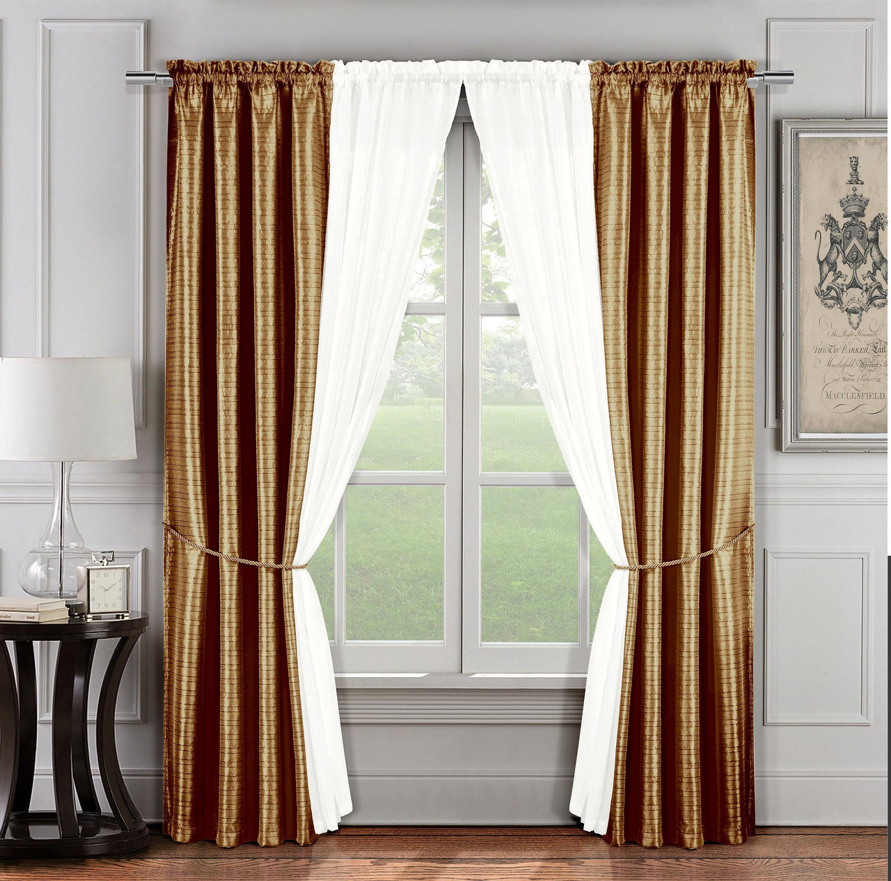 Tie Back Kitchen Curtains: 6 Pc. Window Curtain Set: Gold And Ivory, 2 Panels, 2