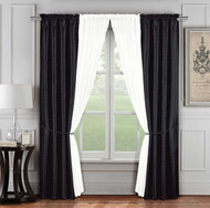 6 Pc. Jacquard Window Curtain Set: Black and Ivory, 2 Panels, 2 Sheers, 2 Tie Backs