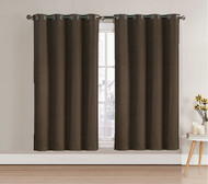 """Single (1) Blackout Window Curtain Panel: Chocolate Brown, Silver Metal Grommets, 52""""W x 63""""L"""