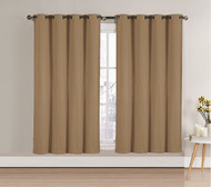 """Single (1) Blackout Window Curtain Panel: Taupe, Silver Metal Grommets, 52""""W x 63""""L"""