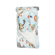 Reversible Baby Blanket with Travel U-Pillow: White and Blue with Animal Design
