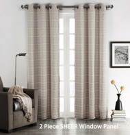 "Set of (2) Taupe Sheer Grommet Window Curtain Panels: Stripe Design, 76"" W x 84"""