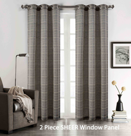 Set Of 2 Gray Sheer Grommet Window Curtain Panels