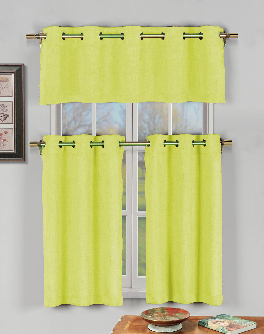 Yellow 3 Pc Kitchen Window Curtain Set with Silver Metal Grommets: 1  Valance, 2 Tier Panels