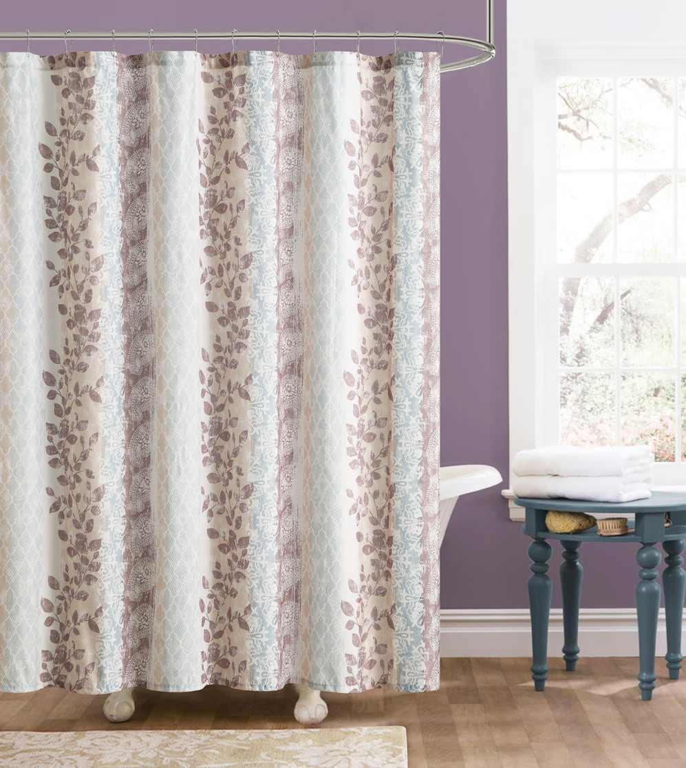 Beige And Brown Embossed Fabric Shower Curtain Floral And Trellis Design
