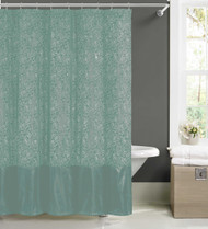 Spa Blue Faux Silk Fabric Shower Curtain w/ 12 Rollerball Hooks: Metallic Raised Pin Dots Abstract Floral Design