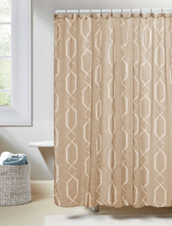 "Taupe Linen Textured Sheer Fabric Shower Curtain: White Geometric Design, 70""W x 72""L"