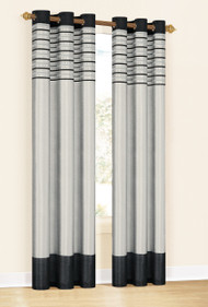 "Set of Two (2)  Window Curtain Panels: Metallic Silver with Black, Embroidered, Grommets, 76"" x 84"""