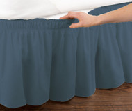 Blue Elastic Ruffled Bed Skirt: Wrap Around Easy Fit, Queen or King Size