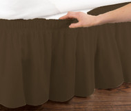 Chocolate Brown Elastic Ruffled Bed Skirt: Wrap Around Easy Fit, Queen or King Size