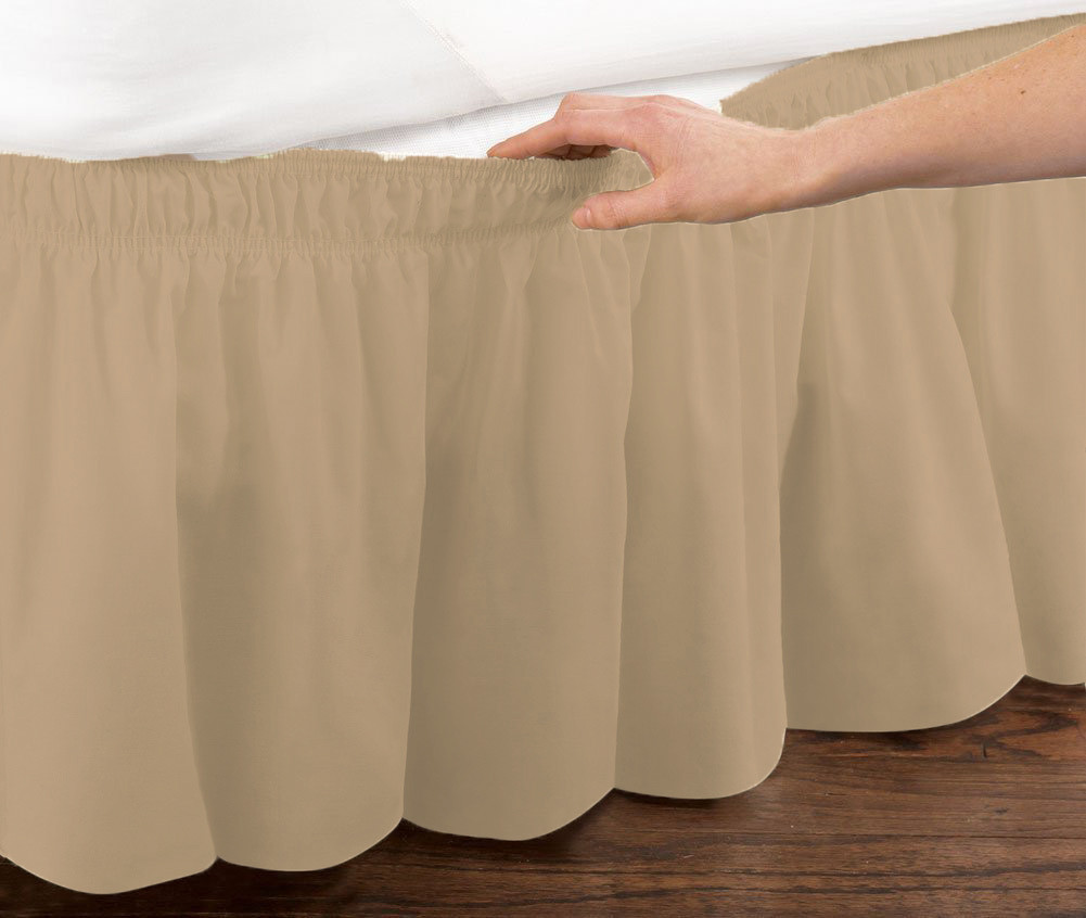 Mocha Elastic Ruffled Bed Skirt Wrap Around Easy Fit Queen Or King Size