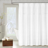 "Metallic White Fabric Shower Curtain: Textured Sheer Fabric, 70""W x 72""L"