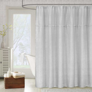"Metallic Silver Gray Fabric Shower Curtain: Textured Sheer Fabric, 70""W x 72""L"