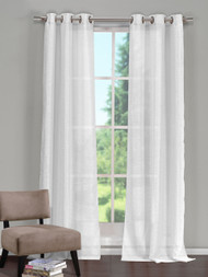 "White  Window Curtain Panel: Grommets, Textured Semi-Sheer, 52""W x 84""L, Single Panel"
