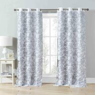 "Set of Two (2) Cotton Blend Gray and White Window Curtain Panels: Bird and Tree Branch Burnout Design, Double Layer, 76""W x 84""L"