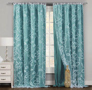 """One Piece (1) Teal and White Window Curtain Panel: Floral Boranical Design, Double Layer, 54""""W x 84""""L"""