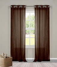 "Two (2) Sheer Grommet Window Curtain Panels: Chocolate Brown Metallic, 76"" x 84"""