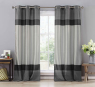 "Two (2) Black, Gray and Silver Window Curtain Panels: Faux Silk, Silver Grommets, 78"" x 84"""