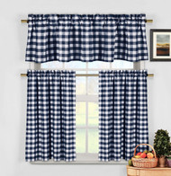 Navy Blue 3 Piece Gingham Check Kitchen Window Curtain Set: Plaid, Cotton Rich, 1 Valance, 2 Tier Panels