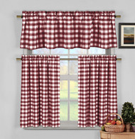 Wine Red 3 Piece Gingham Check Kitchen Window Curtain Set: Plaid, Cotton Rich, 1 Valance, 2 Tier Panels