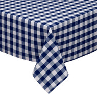"Navy and White Checkered Kitchen/Dining Room Tablecloth: Gingham/Plaid Design, Cotton Rich, 54""x72"", 58""x102"", 58""x84"" and 70""Round"
