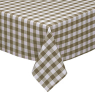 "Taupe and White Checkered Kitchen/Dining Room Tablecloth: Gingham/Plaid Design, Cotton Rich, 54""x72"", 58""x102"", 58""x84"" and 70""Round"
