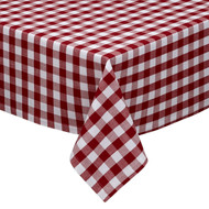 "Wine and White Checkered Kitchen/Dining Room Tablecloth: Gingham/Plaid Design, Cotton Rich, 54""x72"", 58""x102"", 58""x84"" and 70""Round"
