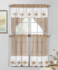 3 Piece Taupe and White Sheer Window Curtain Set: Fruit Basket Embroidery, 2 Tiers, 1 Swag Valance