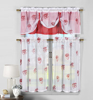 3 Piece White and Red Sheer Window Curtain Set: Fruit Embroidery, 2 Tiers, 1 Double Layer Valance
