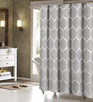 "Gray Jacquard Fabric Shower Curtain: Silver Trellis Design. 70"" x 72"""