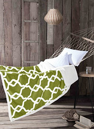 "Green Reversible Sherpa Plush Fleece Throw Blanket: Moroccan Trellis Design, Soft and Plush, 50"" x 60"""