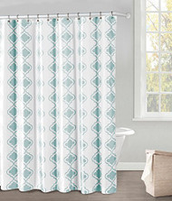 "White and Blue Fabric Shower Curtain: Blue Moroccan Tile Design, 70"" x 72"""