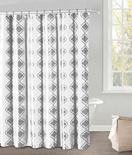 "White Fabric Shower Curtain: Gray Moroccan Tile Design, 70"" x 72"" (Dark Gray)"